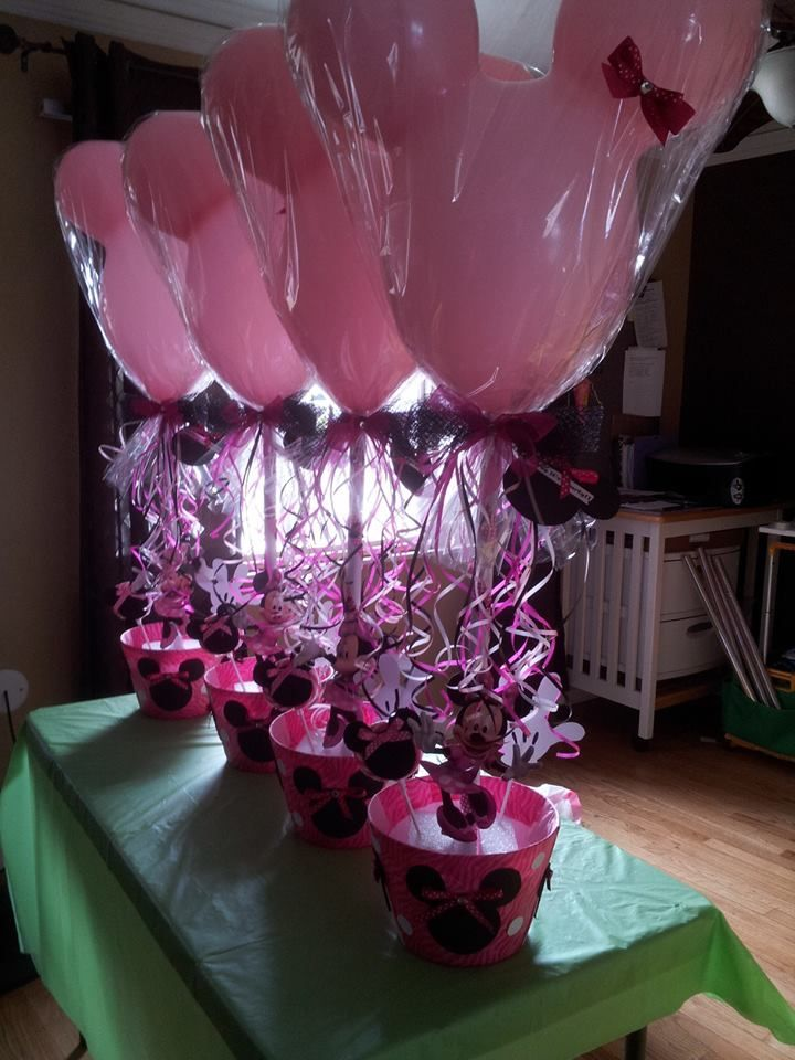 Balloon Centerpiece Stands : Minnie mouse balloon stand centerpiece party on a budget