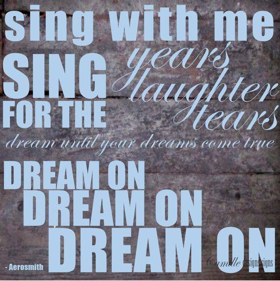 Aerosmith Dream On Lyrics In Vinyl By Camille Designs