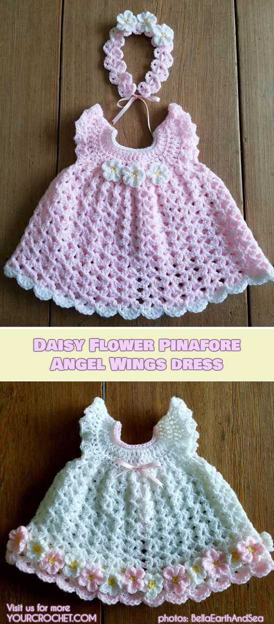 How to Crochet and Jazz Up Your Angel Wing Pinafore Baby Dress [Free Pattern and… – Crochet