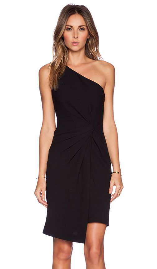 Halston Heritage One Shoulder Dress in Black | REVOLVE