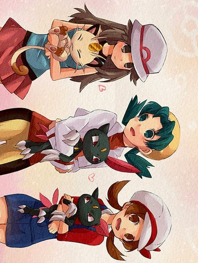 Pokemon trainers and their cats from region