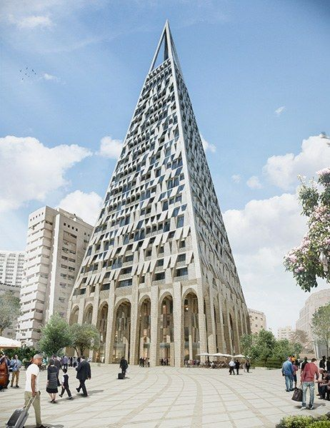 Architects Daniel Libeskind and Israel-based Yigal Levi have designed a 344-foot building in the heart of Jerusalem. The mixed-use Pyramid Tower will be located next to the historic Mahane Yehuda market, and will be the second-tallest building in Jerusalem (Holyland Tower 1 is 52 feet taller). When complete, the tower will house 200 apartments, a boutique hotel and restaurant, and a rooftop observatory.
