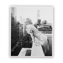 """Black & White Smiling Marilyn On the Roof Art Print by Michael Ochs Archive for Getty Images – 11"""" x 13"""""""