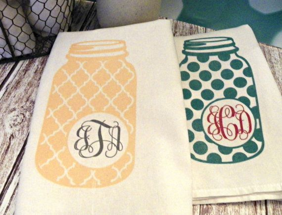 Mason jars and flour sack towels are as common in southern kitchens as sweet tea! Customize a mason jar flour sack towel with a monogram or name for