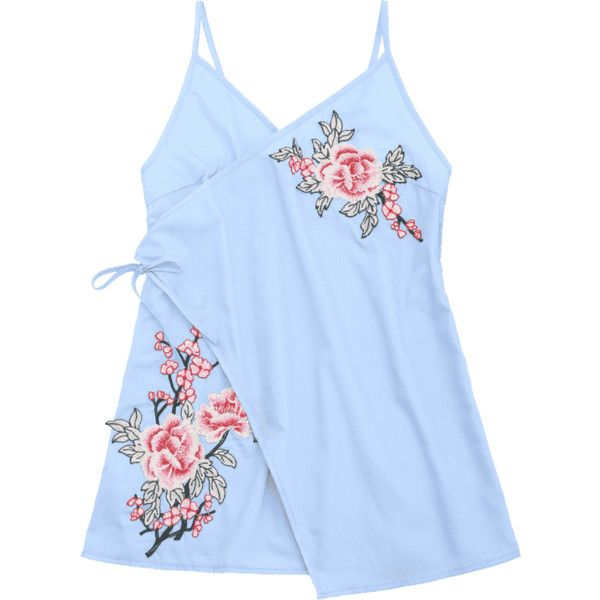 Tiered Bowknot Embroidered Patches Mini Dress (380.390 VND) ❤ liked on Polyvore featuring dresses, light blue mini dress, light blue short dress, short dresses, light blue dresses and short blue dress