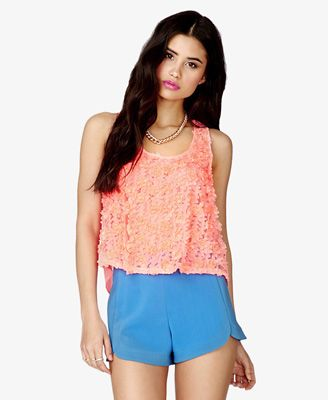 """21 Raised Flower Trapeze Top $17.80 DETAILS:  21"""" approx. length from high point shoulder to hem, 38"""" chest, 38"""" waist Measured from Small Shell 1: 100% polyester; Shell 2: 100% polyester Hand wash cold, dry flat"""