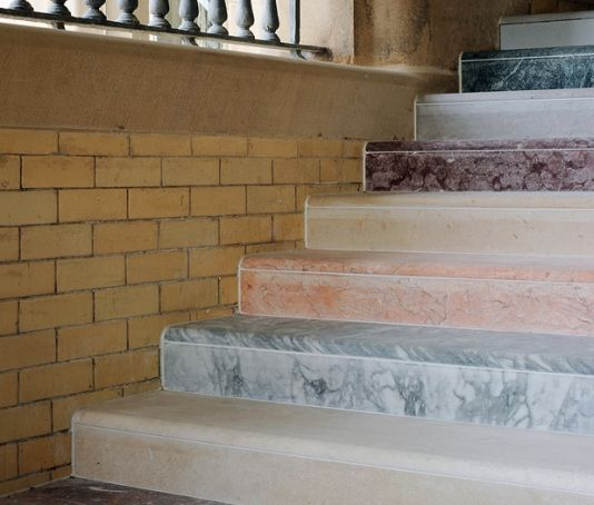 colorful marble stairs