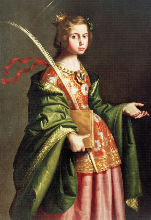 Francisco de Zurbarán. Saint Elizabeth of Thuringia.  Elizabeth was married at the age of 14, and widowed at 20. She then became one of the first members of the newly founded Third Order of St. Francis, relinquished her wealth to the poor, and built hospitals, where she herself served the sick. She became a symbol of Christian charity after her death at the age of 24.    Jaded Mandarin