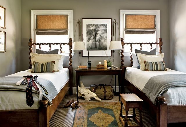 boys room...love the bedframesWall Colors, Guest Room, Guest Bedrooms, Boys Bedrooms, Gray Bedroom, Kids Room, Boy Rooms, Twin Beds, Boys Room