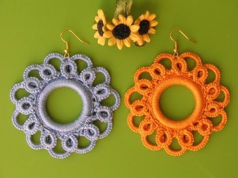 ▶ 13' TUTORIAL ORECCHINI UNCINETTO CHIACCHIERINO AD AGO ANKARS EARRINGS NEEDLE TATTING CROCHET - YouTube