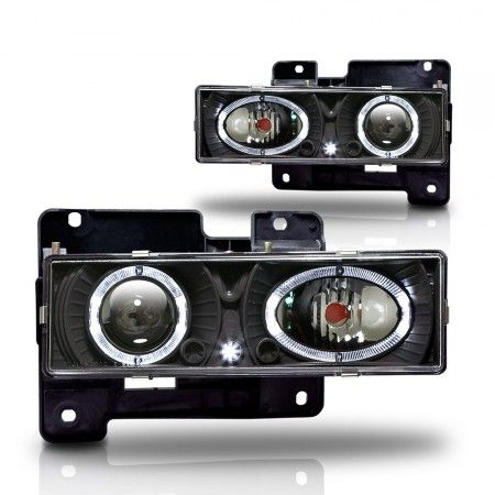 WinJet WJ10-0002-04 | 1997 Chevy C/K Series Black Halo Projector Headlights for SUV/Truck/Crossover
