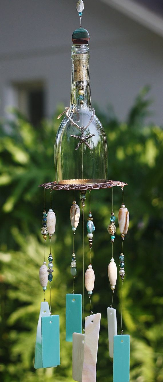 Wine Bottle Wind Chime - Bahama Breeze is made from Stained Glass, Clear Bottle ...