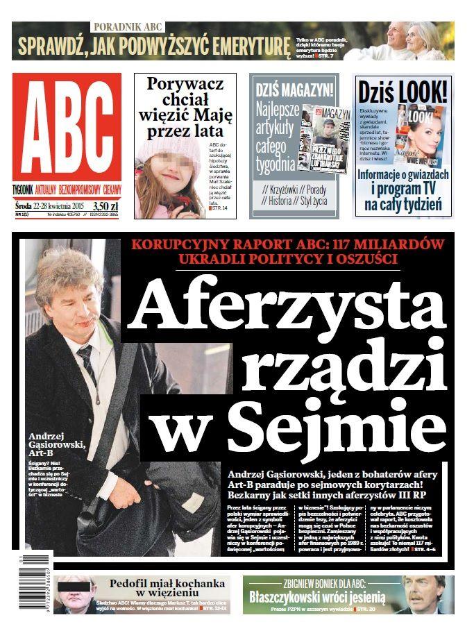 ABC nr 1 cover: Aferzysta rządzi w Sejmie Art-B Gąsiorowski
