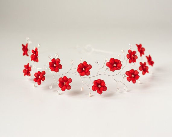 Hey, I found this really awesome Etsy listing at https://www.etsy.com/listing/202287632/red-flower-crown-silver-headband-red
