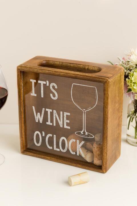 It's Wine O'Clock Wood Cork Shadow Box
