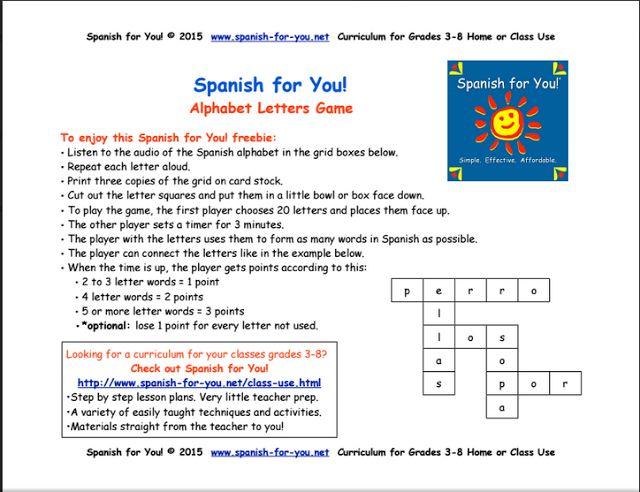 Spanish Language Activities at EnchantedLearning.com