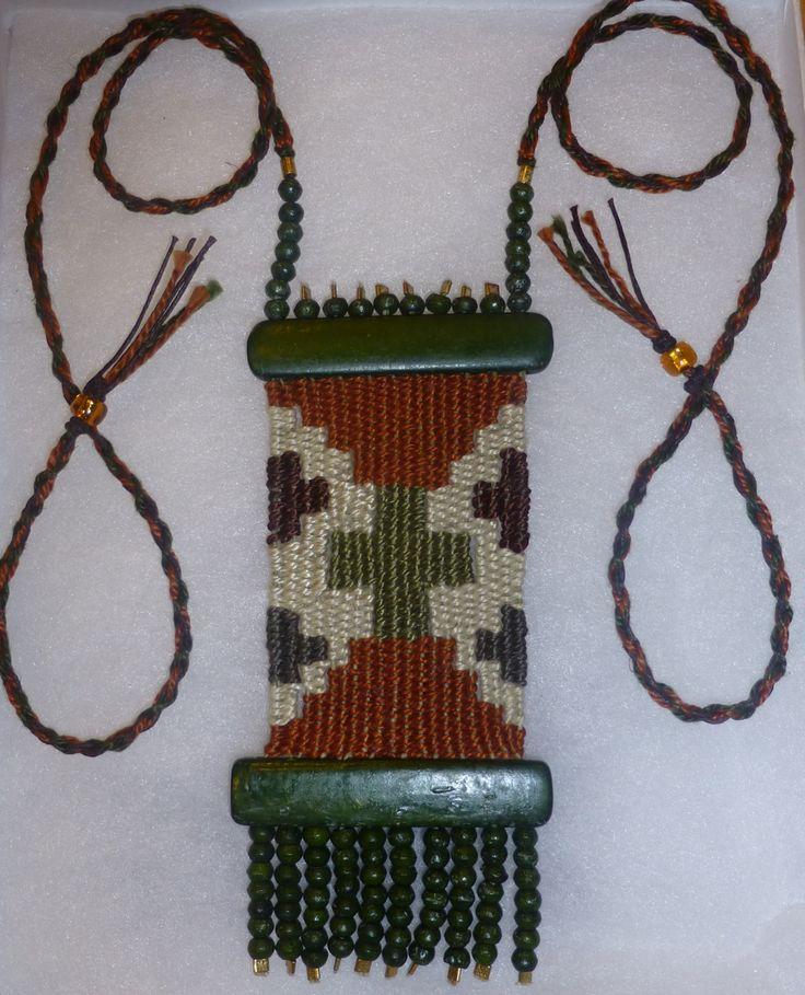 """Tapestry"" - 2012 - Adjustable length, Gift to Friend. Hand woven, handwoven, weaving, weave, needleweaving, pin weaving, woven necklace, fashion necklace, wearable art, fiber art."