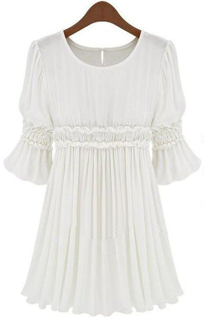White Short Sleeve Pleated Chiffon Dress