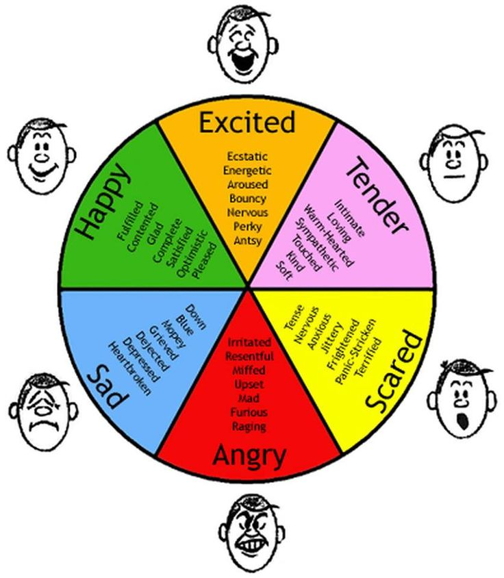 Synonyms for 'Excited', 'Tender', 'Scared', 'Angry', 'Sad', 'Happy'.