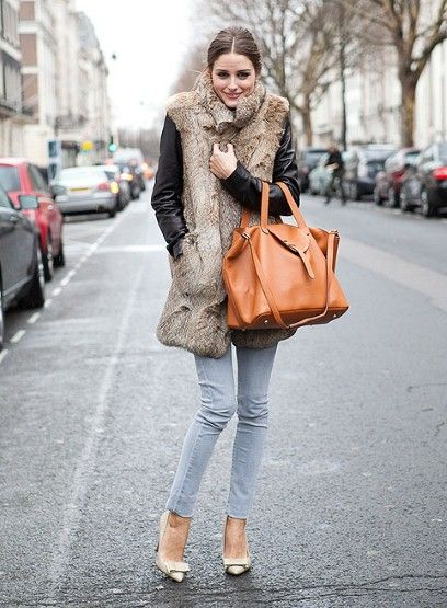 Olivia Palermo in fur.: Oliviapalermo, Spring Bags, Street Style, Outfit, Jeans, Olivia Palermo, Faux Fur Vest, London Fashion Week, Furvest