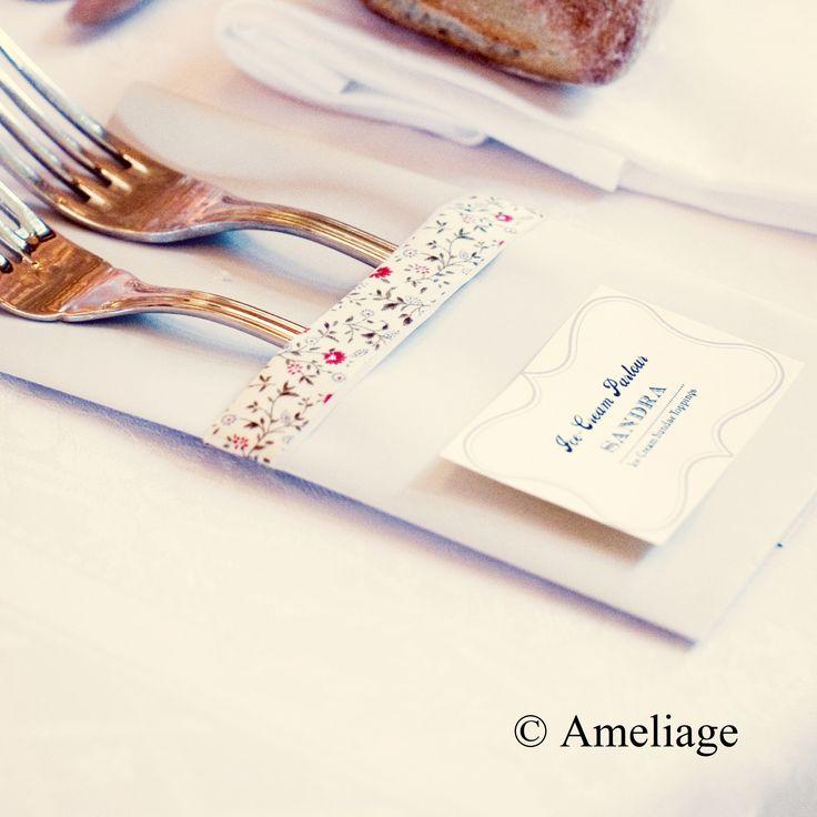 DIY pochette à couvert papier, fourchette argenterie, porte nom couvert, liberty. Ameliage Wedding planner. Crédit photos : A vos amours