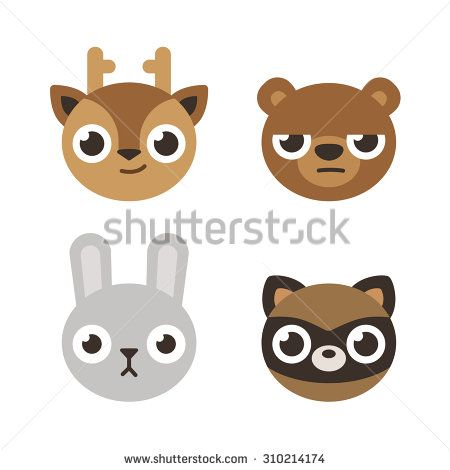 Set of 4 cute forest animal heads: deer, bear, rabbit and raccoon. Flat cartoon style. - stock vector