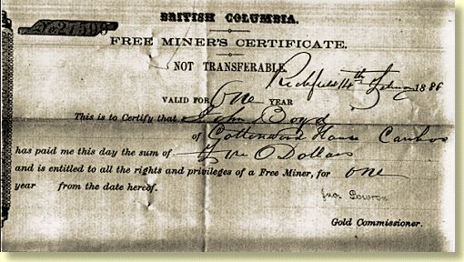 Certificate for the gold miners.