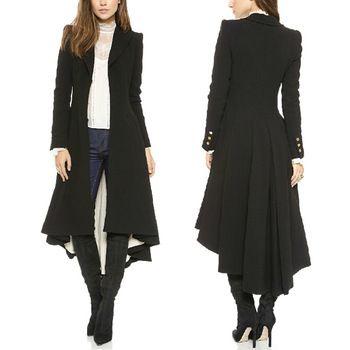 2014 Women Lapel Hi-Lo Hem Tuxedo Back Asymmetric Fit-and-flare Windbreaker Woolen Blazer Trench Coat Outwear...