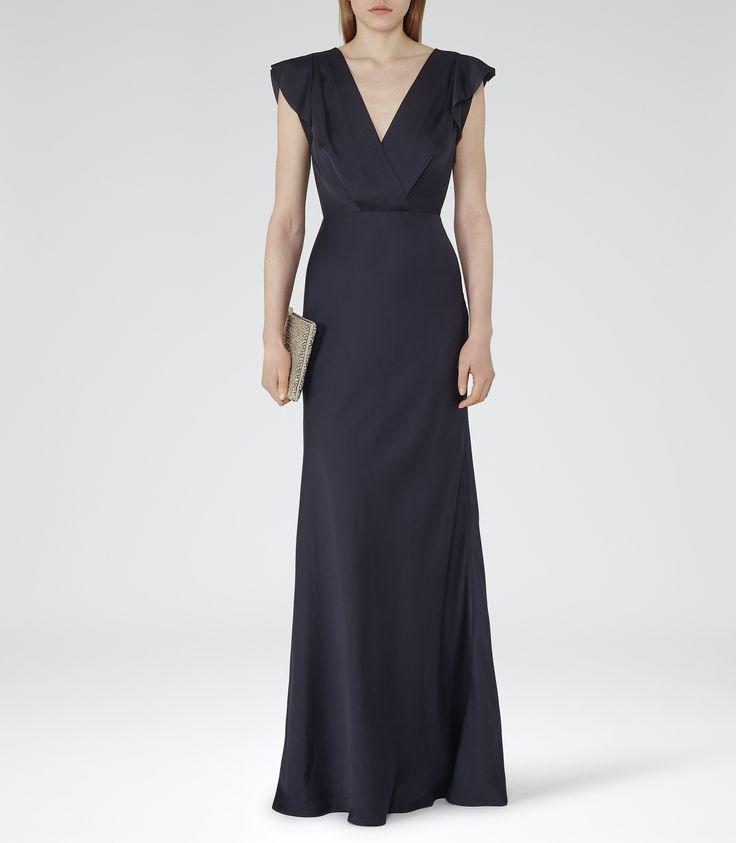 Womens Night Navy Fluted-sleeve Maxi Dress - Reiss Belsize