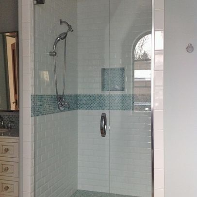 Subway Tile With Glass Mosaic Insert And Frameless Shower