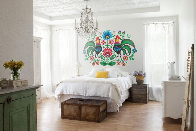 Folk wall decal for a #shabbychic and #folk #bedroom - by PIXERS