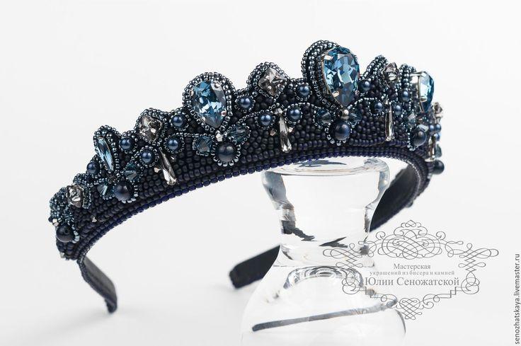 "Купить Диадема ""Дейенерис"" - тёмно-синий, синий, диадема, игра престолов, swarovski, корона"