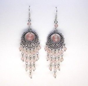 Cherry Quartz Chandelier Earrings