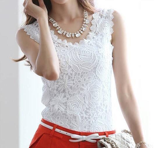 Blusas Femininas 2016 Summer Women Blouse Lace Vintage Sleeveless White Renda Crochet Casual Shirts Tops Plus Size S M L XL XXL