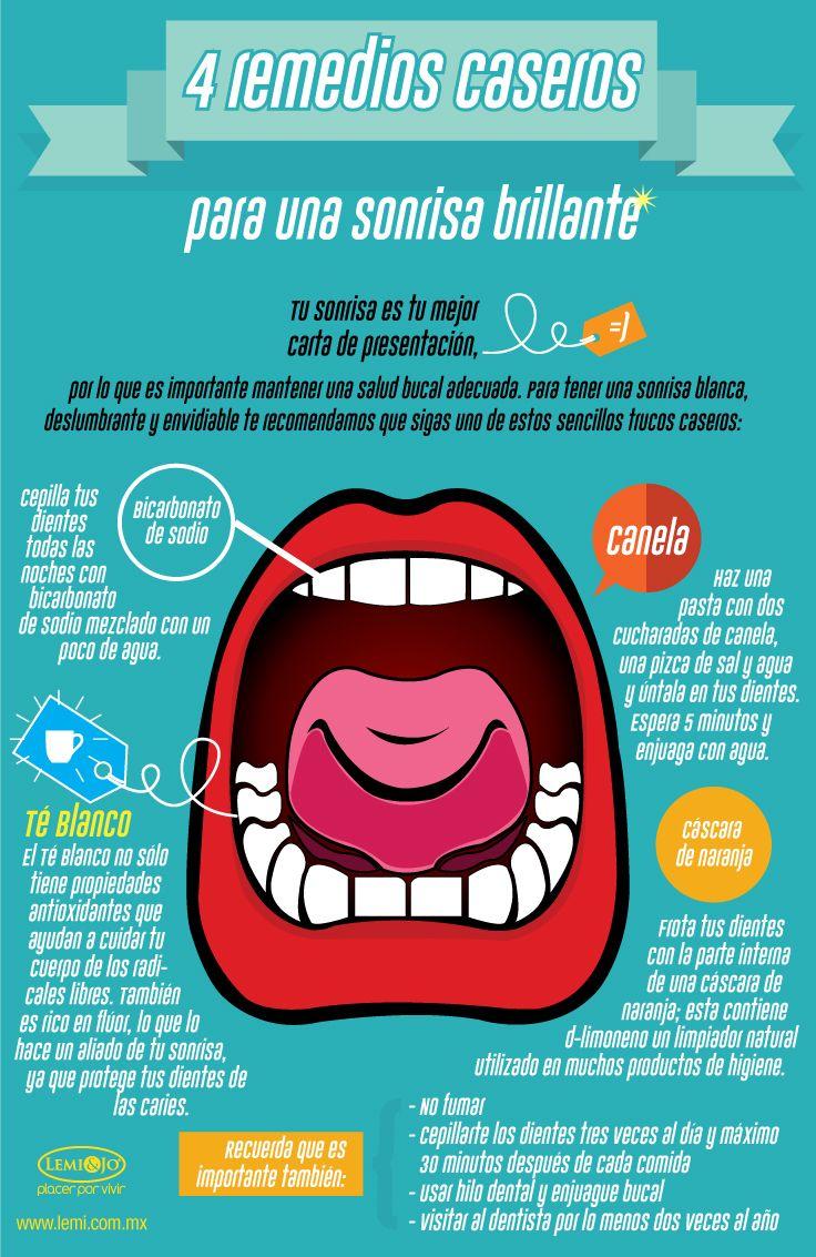 Infografía: 4 remedios caseros para una sonrisa brillante.  #salud y #belleza
