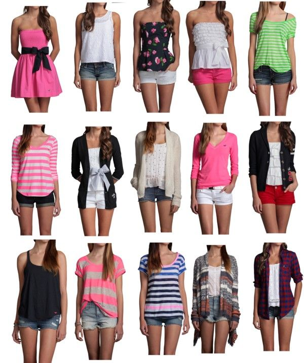 """""""Hollister Outfits2"""" by thumperrabbit ❤ liked on Polyvore...  Definitely gotta lose the bows though  ;)"""