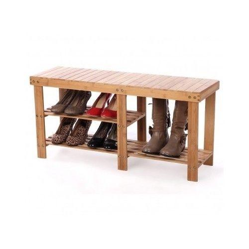 Shoe Storage Bench Seat Rack Organizer Wood Home Furniture Entryway Holder