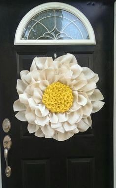 Make a statement with this large burlap flower in white and yellow! Year round wreath, Burlalp Flower wreath, Summer wreath, Anytime wreath