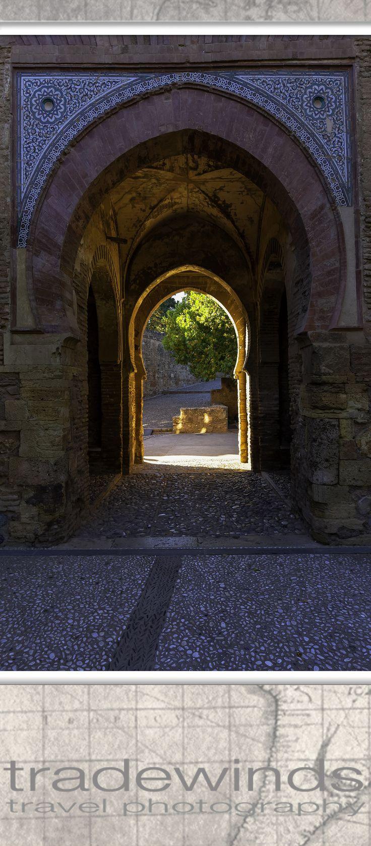 beautiful moorish doorway in alhambra castle in spain