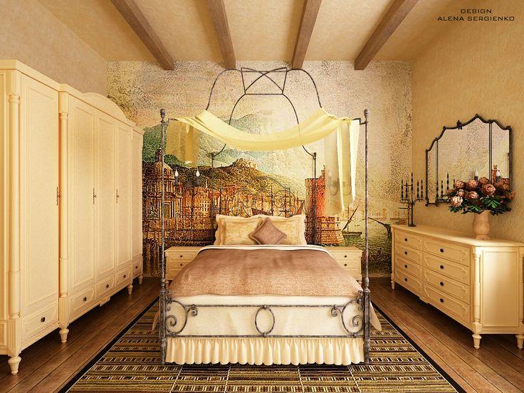 Проект спальни в испанском стиле для загородного дома. Комната поучилась достаточно простой, но при этом очень изящной и оригинальной.