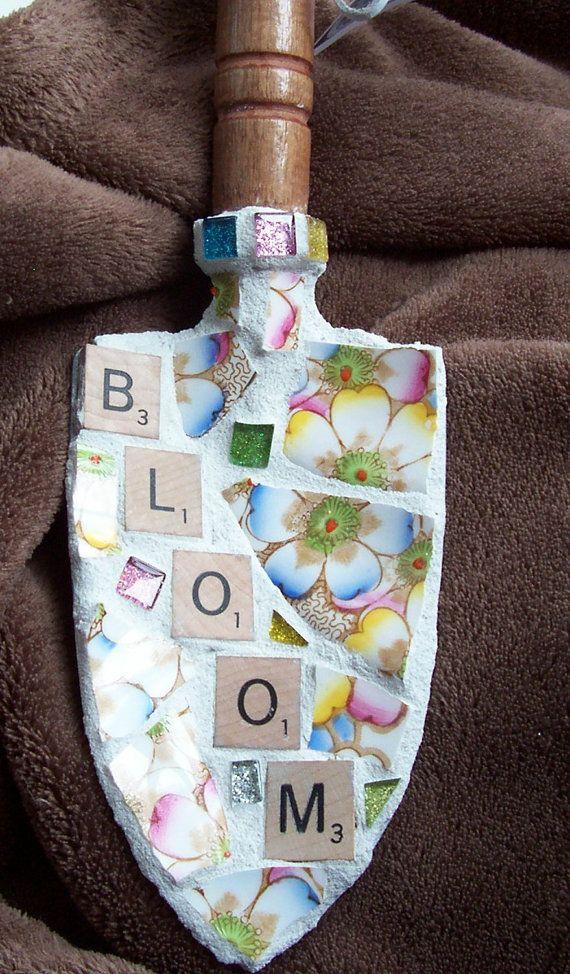 Mosaic Garden Art Trowel Shovel Scrabble Tiles