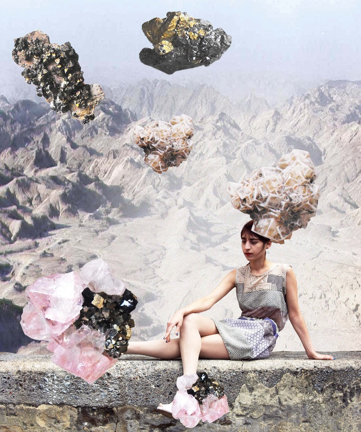 A model wears a DIYcouture grecian dress made with multiple textures and patterns, in a fantasy desert landscape. Photo by Luka Yang.