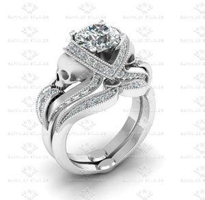 Show details for 'Aphrodite' 3.65ct All White Diamond Skull Sterling Silver Bridal Set
