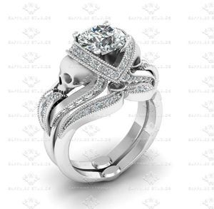 Show details for 'Aphrodite' 2.10ct All White Diamond Skull Sterling Silver Bridal Set