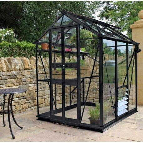 Serre de jardin 2,87m² en verre trempé BIRDLIP noire Eden Greenhouses