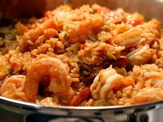 Becca's Jambalaya ~ Classic shrimp jambalaya with long grain rice, chicken broth, onion, bell peppers, celery, garlic, tomatoes, creole seasoning, and fresh shrimp. ~ SimplyRecipes.com