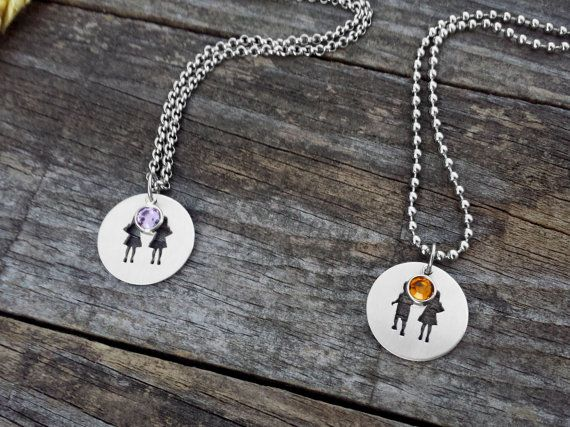 Sisters Brothers Necklace, Friends Necklace, Family Necklace, Family Jewelry, Silhouette Cutout, Stainless Steel, Aluminum, Birthstones