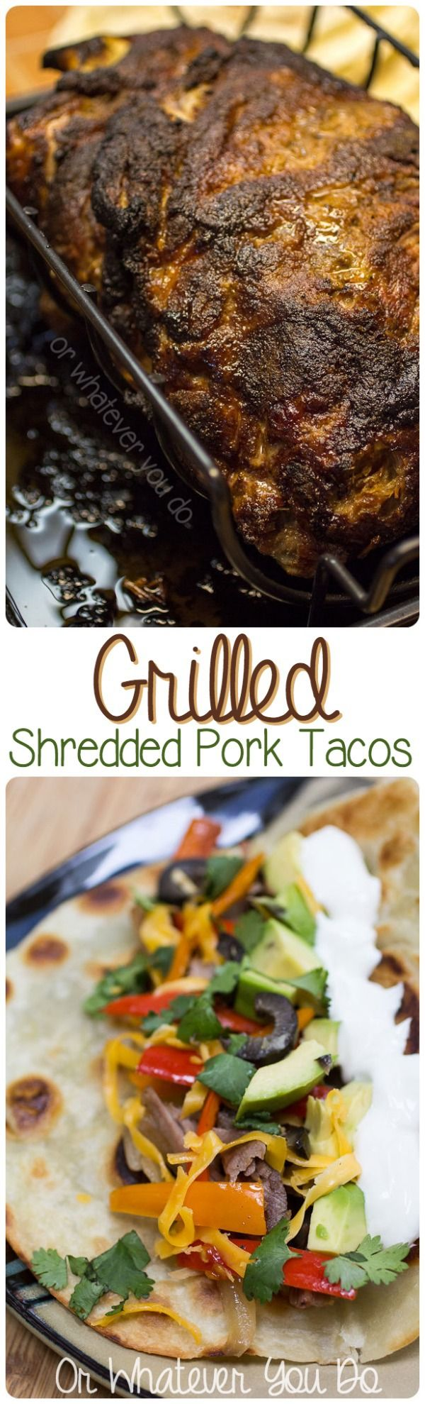 Perfectly seasoned grilled shredded pork shoulder for tacos. Juicy, delicious, and worth the time!