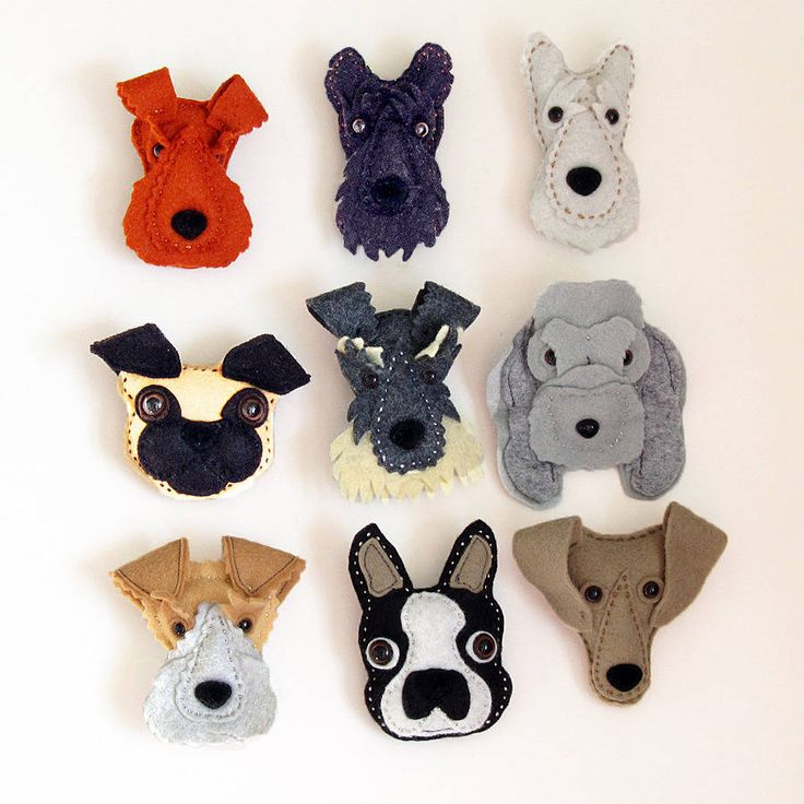 Handmade Felt Dog Brooch