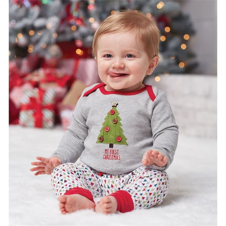 Mud Pie My First Christmas Tree Set | Shop First Christmas Outfits for Baby at Sugar Babies Boutique!